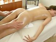 Petite cute brunette spread pussy for massage fucking