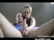 Milf takes over guys handjob by sucking dick