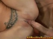 Tattooed blonde babe drilled on couch