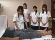 Japanese penis practitioners practice clinical handjob technique