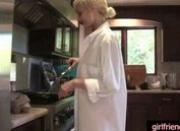 Cute emo girlfriend gets fucked in the kitchen