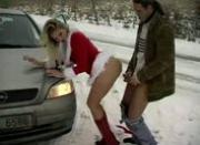 Chick in Christmas outfit fucked on the side of the road