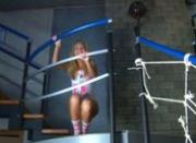 Blonde teen banged on the stairs