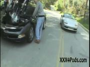 Coeds April & Chelsey Seduce a Stranded Motorist