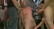 Dirty gay boy in public shop suck by sado maso gang in extreme group sex