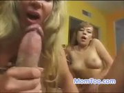 Sexy cock hungry blonde MILF licks her lovers cum off her daughters eager teen lips