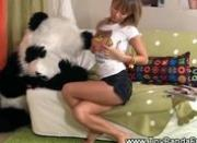 Sassy teen masturbates while toypanda sleeps