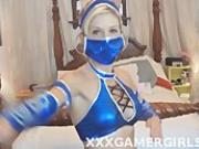 Mature Kitana masturbating with Wii controller