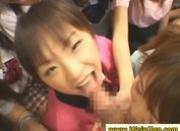 Slutty asian schoolgirls fuck a lucky dude