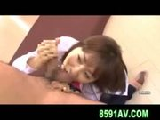 busty yuma asami gives nice blowjob to coworker