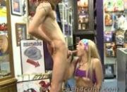 Retail store slut fucks for cash on camera at her workplace