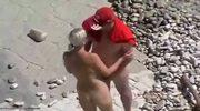 Amateur couple on the beach spyvideo