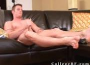 Muscled rc wanking his firm cock