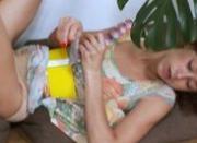 Russian girl using huge glass vibrator