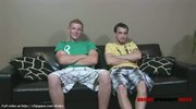 Colin and Connor relaxs on sofa