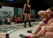 Brutal lesbians fighting on the wrestling tab trying to eat their pussies and strong bodies