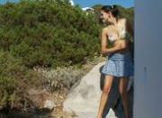 Brunette peeing in public