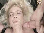 Hot blonde babe suck cock in orgy