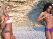 two hot chicks naked on the beach