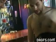 Hot latin chick has threesome in the bar