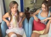 Lesbian teens toying wet beavers
