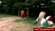 Shemale soccer team seduces goalkeeper