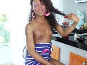 Slim ebony tgirl Kayla Biggs butt ripped