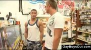Public gay blowjob in grocery store