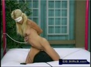 Bound and Blind Folded Hot Blonde Fucks the Sybain Machine