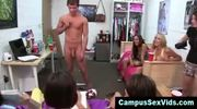 College teen gives bj at cfnm party