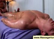 Masseur uses oil as sexual lubrication