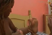 Lesbian Foot Love: Interracial Braziliana 3sum