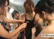 Japan swimsuit poolside lesbian tit rubbing group orgy