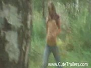 Ultra thin girlfriend in the forest