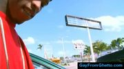 Public interracial gay blowjob in lunchroom