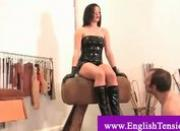 Naked slave gets a mean whipping