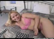 Blonde slut fucking a huge dildo