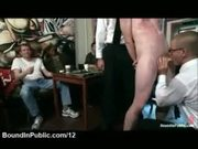 Bound gay sucks strange cock and dick weighted in cafe