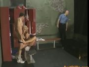 Blonde gets locker room gang bang