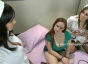 Pervert lesbian doctor and assistant using busty patient to please themselves spanking her