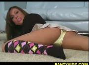Tiffany Brookes in bright colored tights and undies