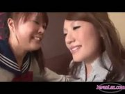 Office Lady Kissing and Spitting on School Girl