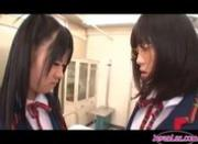 Two Lesbian School Girls Kissing Passionately