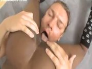 Ebony model chick gets sprayed