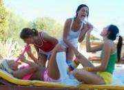 Four hot lesbians masturbating