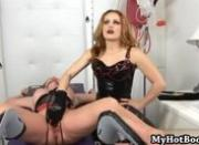 Amber Michaels is laying on her back with rope bo