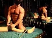 Bodybuilder CBT session with young stud bottom.