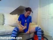 Busty soccer fan hoover up her pussy and ass