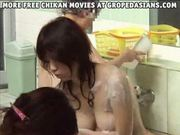 Girl rough into lesbian sex in a spa Part 1