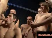 Interracial dicksuckorgy with gay guys